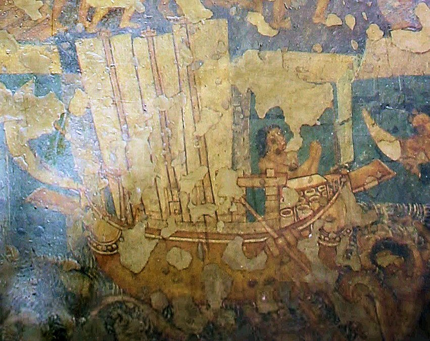 Ajanta Cave 2 three-mast sailship