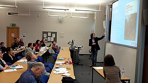 Alasdair Cochrane - Cochrane presenting at Ethics and/or Politics: Approaching the Issues Concerning Nonhuman Animals, University of Birmingham, April 2015, chaired by Tatjana Višak