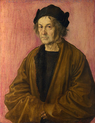 Portrait of Dürer's Father at 70 - Portrait of Dürer's Father at 70, 1497, attributed to Albrecht Dürer. National Gallery, London. 51 cm x 40.3 cm.