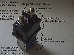 albright spst dc contactor, used in industrial electric vehicles and  sometimes used in electric vehicle (ev) conversions