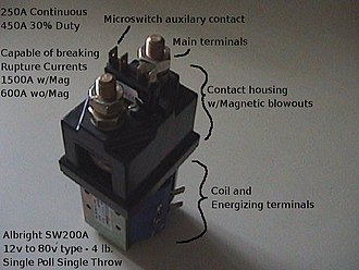 Contactor - Albright SPST DC contactor, used in industrial electric vehicles and sometimes used in Electric vehicle (EV) conversions