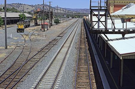 Tracks and locomotive at Albury Railway Station