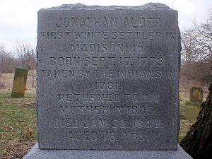 Jonathan Alder - Alder's gravestone