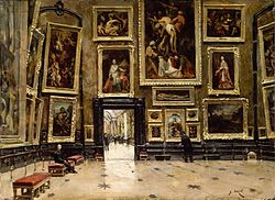Alexandre Jean-Baptiste Brun: View of the Salon Carré at the Louvre