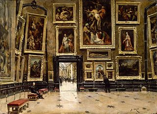 View of the Salon Carré at the Louvre