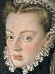 Alonso Sánchez Coello - Portrait of Juana of Austria, Princess of Portugal (detail).jpg