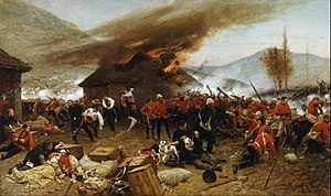 Gonville Bromhead - The defence of Rorke's Drift by Alphonse-Marie-Adolphe de Neuville (1879). Bromhead is in the centre of the painting, pointing to his left.