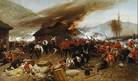 Rorke's Drift, 22–23 January 1879, a battle fought under the command of Lt. John Chard, RE. Eleven Victoria Crosses were won during the battle, including one by Chard. Painting by Alphonse de Neuville Alphonse de Neuville - The defence of Rorke's Drift 1879 - Google Art Project.jpg