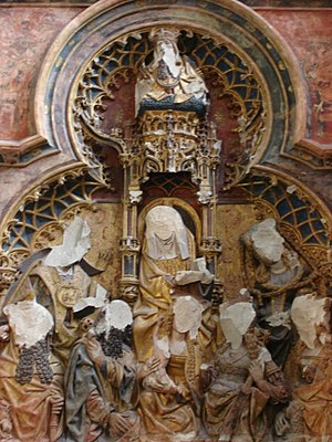 Art in the Protestant Reformation and Counter-Reformation - Altar piece in St. Martin's Cathedral, Utrecht, attacked in the Beeldenstorm in 1566. This retable became visible again after restoration in 1919 removed the false wall placed in front of it.