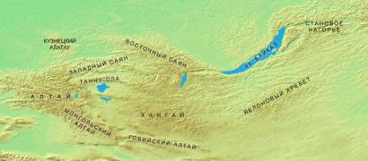 Carta fisica (Altai, Sayan, Baikal, Altai mongolo)
