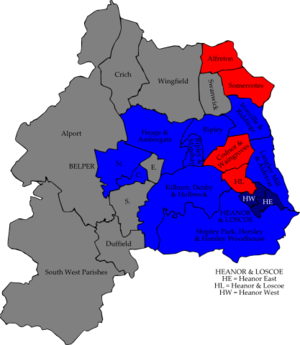 Amber Valley Borough Council elections - Image: Amber Valley 2008 election map