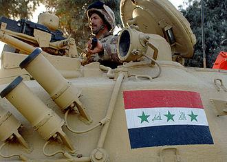 Battle of Basra (2008) - New Iraqi Army T-72 tank.