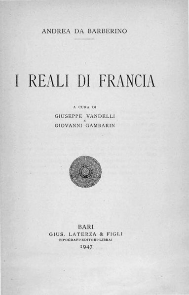 File:Andrea da Barberino – I reali di Francia, 1947 – BEIC 1731888.djvu