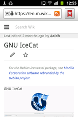 Android Browser render a Wikipedia page with minor cosmetic issues