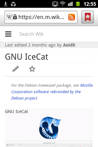 Firefox for Android - Stock browser. The search box is somewhat narrow, with instruction text cut off.