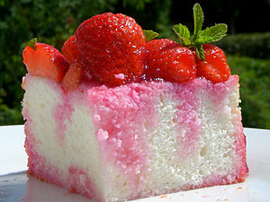 Angel food cake - A piece of angel cake with strawberries