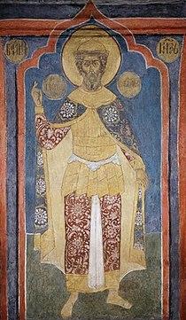 Archangel Cathedral - SW column, 1st lev., south - Georgy Vsevolodovich.jpg