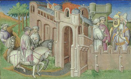 Niccolò et Matteo à Boukhara, où ils demeurent pendant trois ans. Ils sont invités par un envoyé de Houlagou (à droite) de voyager vers l'est pour rendre visite à Kubilai Khan.