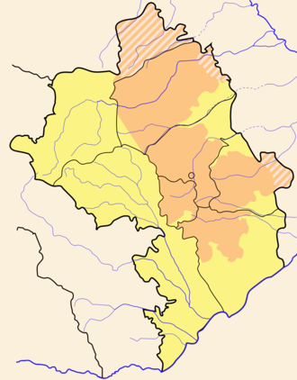 Armenian-controlled territories surrounding Nagorno-Karabakh - Armenian-controlled territories surrounding Nagorno-Karabakh are marked yellow. Brown hatched patterned indicates the Shaumian district and the territory of the former Nagorno Karabakh autonomous region, areas considered by the Artsakh authorities to be part of the Republic of Artsakh but controlled by Azerbaijan.