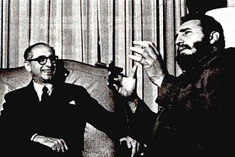 Argentina–Cuba relations - Argentine President Arturo Frondizi meeting with Cuban President Fidel Castro in Buenos Aires, 1959.