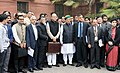 Arun Jaitley departs from North Block to Rashtrapati Bhavan and Parliament House, along with the Minister of State for Finance and Corporate Affairs, Shri Arjun Ram Meghwal, the Minister of State for Finance.jpg