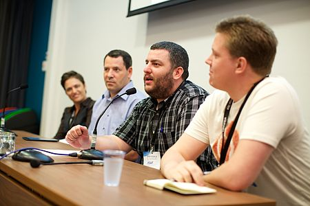 Asaf Bartov, Wikimedia Foundation, at the coolest projects session at Wikimania 2014.jpg