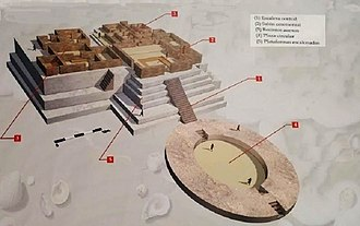 Norte Chico civilization - Reconstruction of one of the pyramids of Aspero