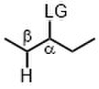 E1cB-elimination reaction - α and β assignments in a molecule with leaving group, LG.