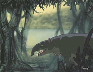Oligocene - Reconstruction of Astrapotherium in natural habitat.