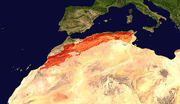 Location of the Atlas Mountains (colored red) across North Africa