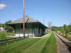 Aurora station (Ohio) - The Aurora station depot in July 2013, paralleled by the abandoned tracks.