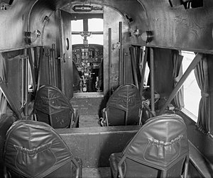 Avro Anson - The interior of an Anson C Mark XI, looking forward from the passenger compartment towards the cockpit