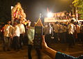 Awaaz Foundation measuring noise level Ganpati 2013.JPG