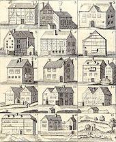Die Badehäuser von Burtscheid aus einer Badeschrift von 1727 von Franciscus Blondel.