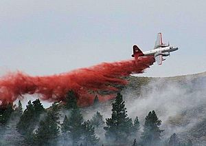 Aerial firefighting - A Bureau of Land Management Lockheed P2V drops flame retardant at Pine Mountain, Oregon. (2014)