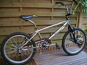 A BMX bike, an example of a bicycle designed f...