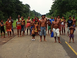 BR-319 - Group of indigenous people on a paved section of the road