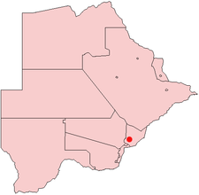Location of Mochudi in Botswana