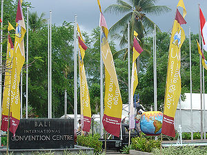 Flags at the enterance of the 2007 United Nati...