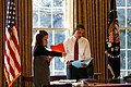 Barack Obama and Katie Johnson in the Oval Office January 2009.jpg