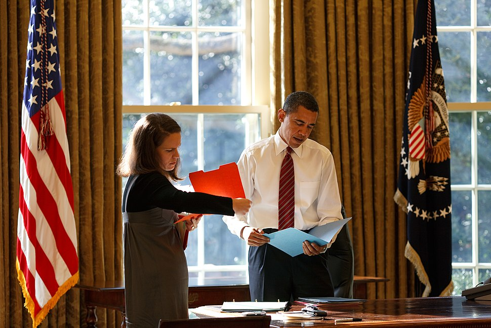 Barack Obama and Katie Johnson in the Oval Office January 2009