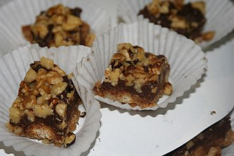 Dessert bar - Bars topped with walnuts