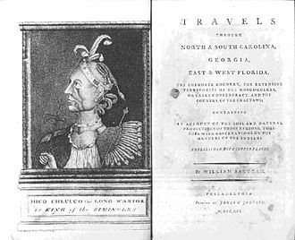 "William Bartram - Frontispiece and title page of ""Travels"""