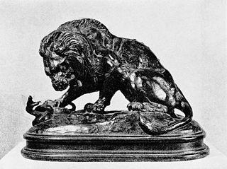Lew walczący z wężem