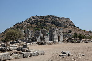 Kaunos - The basilica of Kaunos in front of the acropolis