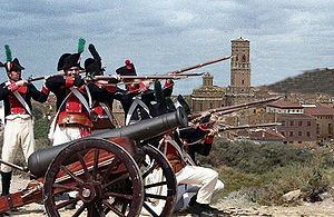 Battle of Tudela - Recreation of the battle on the hill of Santa Barbara with the tower of the cathedral in the background