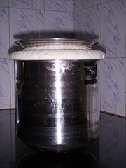 Batter made from Rice and Lentil (Vigna mungo) prepared and fermented for baking Idlis and Dosas