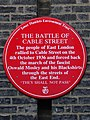 Battle of Cable Street Plaque (Tower Hamlets Environment Trust).jpg