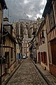 Beauvais - Rue Nicolas Pastour - View SW with Beauvais Cathedral rising up in the back II.jpg