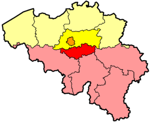 State reform in Belgium - Diagram of the Belgian Province of Brabant, which was divided into Flemish Brabant (bright yellow), Walloon Brabant (bright red), and the Brussels-Capital Region (orange).